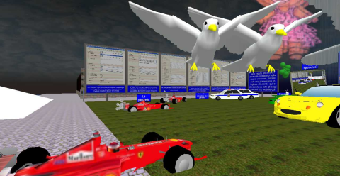 Il parco macchine nella zona prove